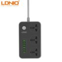 LDNIO 3-Outlet Surge Protector Power Strip With 6-USB Port Adapter SC3604 Grey
