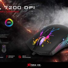 Xtrike me GM-215 Optical Gaming Mouse with DPI Adjustable (7200/4800/2400/1200) 7 Buttons, Backlit